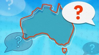 An outline of Australia surrounded by questions marks and speech bubbles.