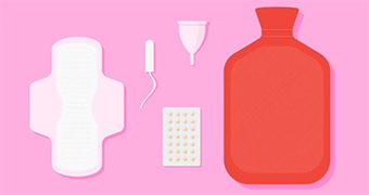Sanitary products, contraceptive pill and hot water bottle