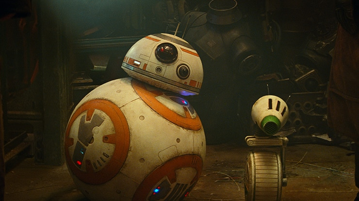 An animated spherical droid and smaller droid with cone head and single wheel body stands near pile of mechanical parts.