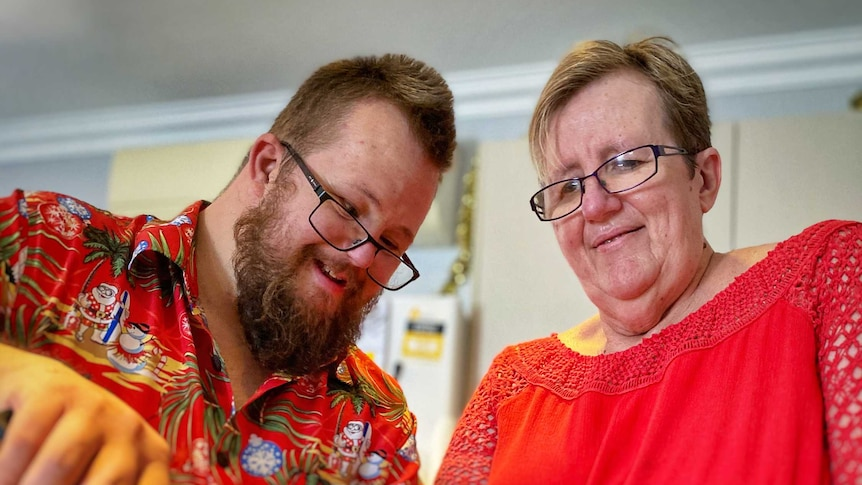 William and his mother Sue bake cookies.