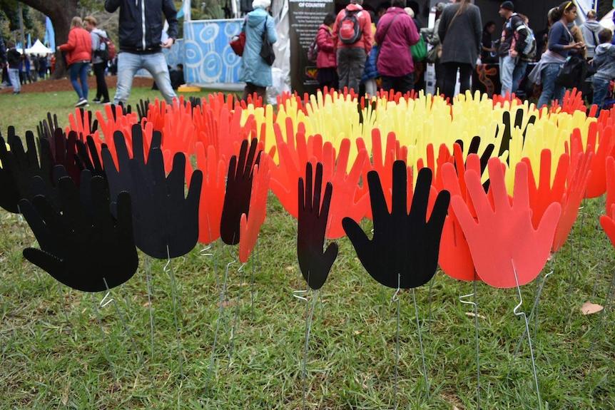 Aboriginal sea of hands at NAIDOC Week celebrations in Hyde Par