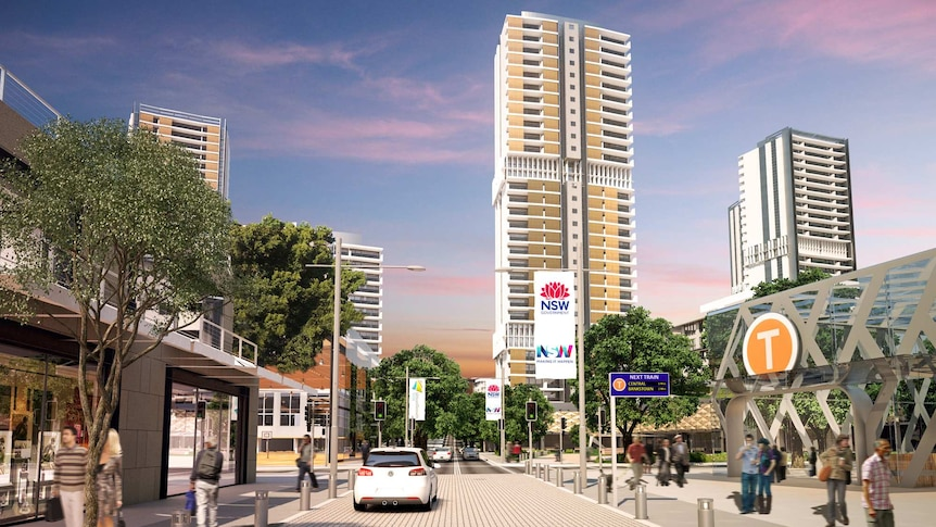 Artists impression showing what a high density development in Waterloo will look like.