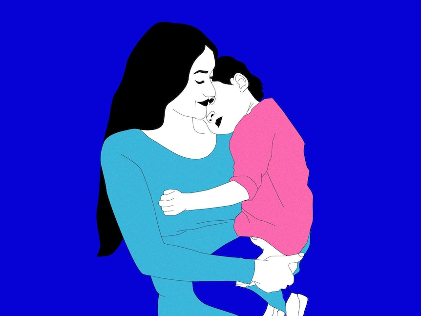 An illustration of a mother with long black hair holding her young child on her hip with its head in the crook of her neck