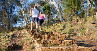 Two people walking up Mt Ainslie stairs Canberra.