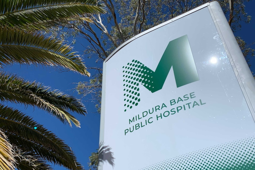 a Mildura Base Hospital sign with a blue sky and a palm tree in the background
