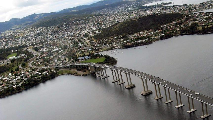 Aerial photo of Hobart's Tasman Bridge