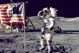 Apollo astronaut Captain Eugene Cernan walking on the moon.