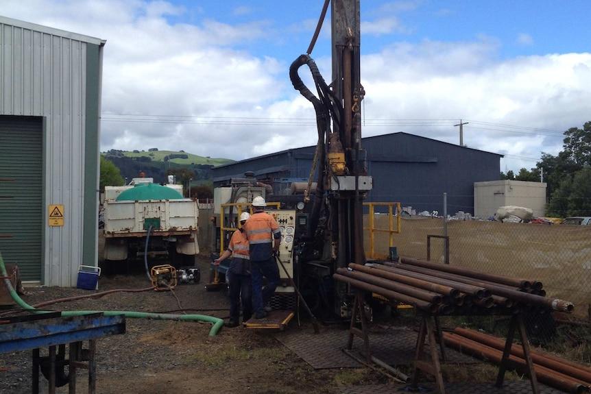 Drilling rig at Yarragon Vic