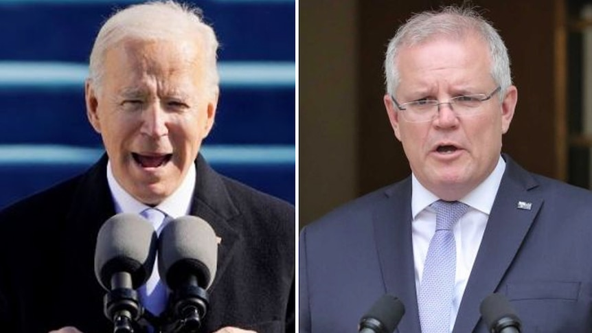 A composite image of Joe Biden at his inauguration and Scott Morrison at a podium