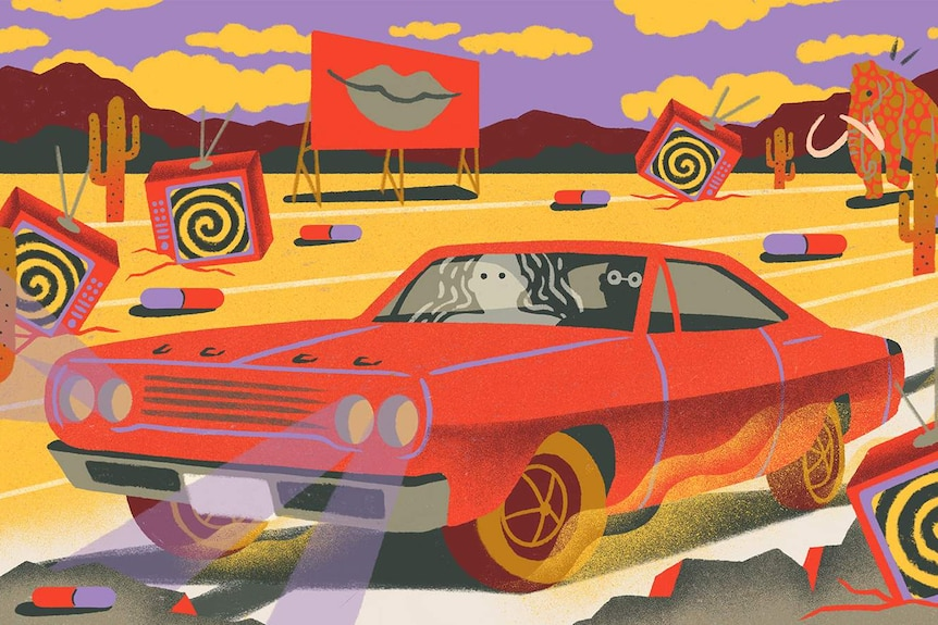Illustration of two figures in a car driving through a surreal dessert with cacti, televisions, pills, and mammoths