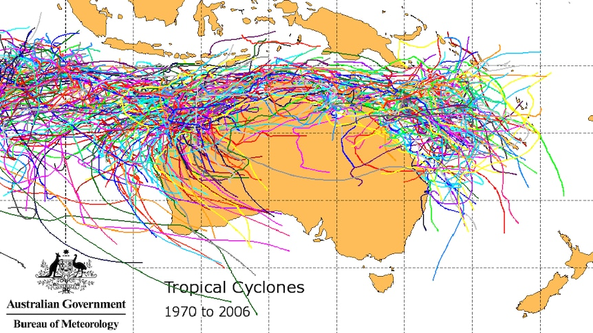 Tropical cyclones tracked across Australia, 1970 to 2006