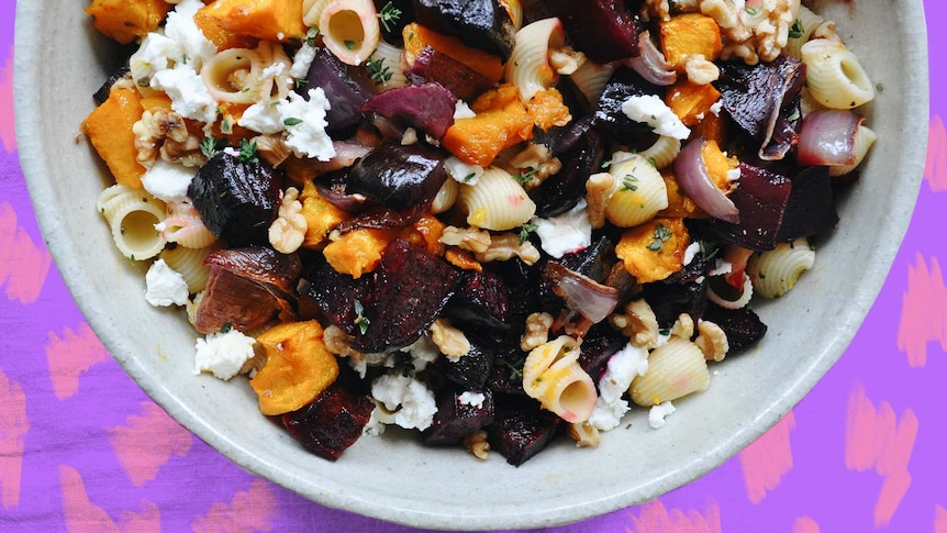 Beetroot and pumpkin pasta salad is a perfect picnic option
