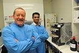 Professor Steve Wilton (left) and Dr Rakesh Veedu (rear) in a laboratory.