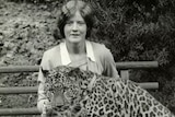 Alison Reid and Mike the leopard, Hobart's Beaumaris Zoo