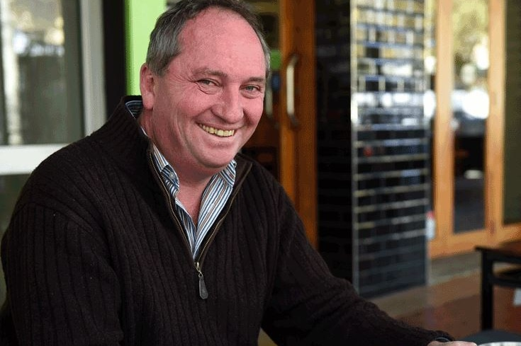 Barnaby Joyce sits with cup of coffee