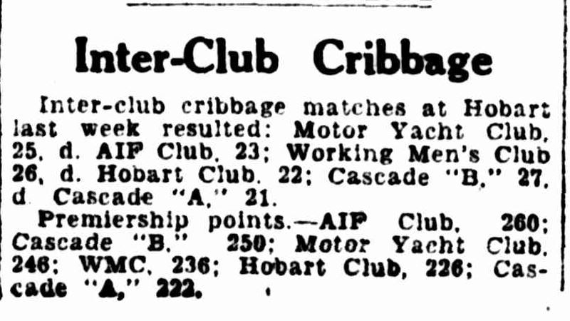 Cribbage results in the Hobart Mercury, 1946