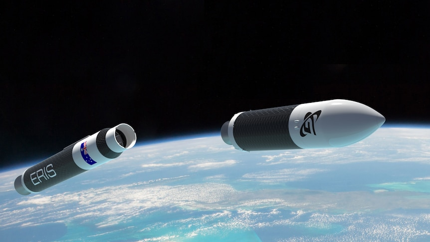 An artist's impression of a rocket in space overlooking Earth.