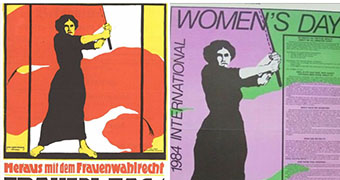 1914 IWD poster from Germany and 1984 IWD poster from Australia.