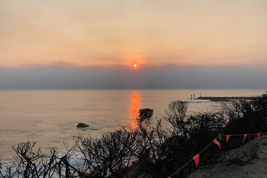 A small red sun rising over the horizon. The water is reflecting the red of the sun. There are burnt shrubs in the foreground.