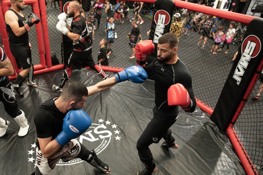 Two men practice mixed martial arts in a cage.