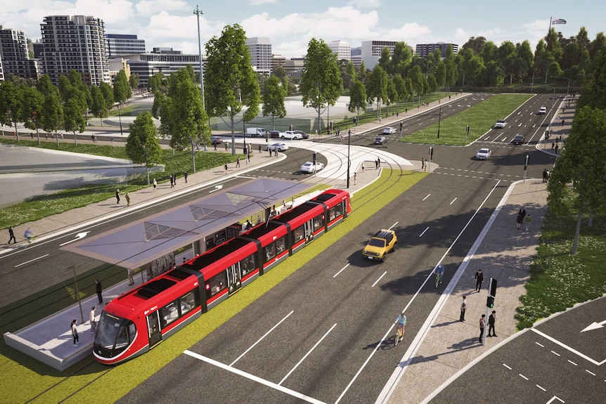 An artists impression showing London Circuit and Commonwealth Avenue.