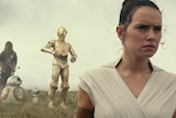Chewbacca, two small droids, C-3PO and Daisy Ridley stand in dry grassland with serious expressions looking into distance.