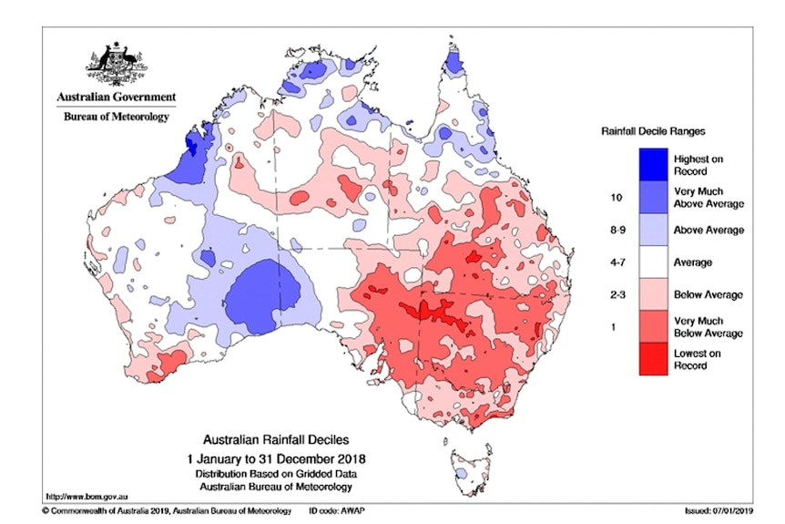Map of Australia lots of red on the east coast indicating below average to lowest on record rainfall.