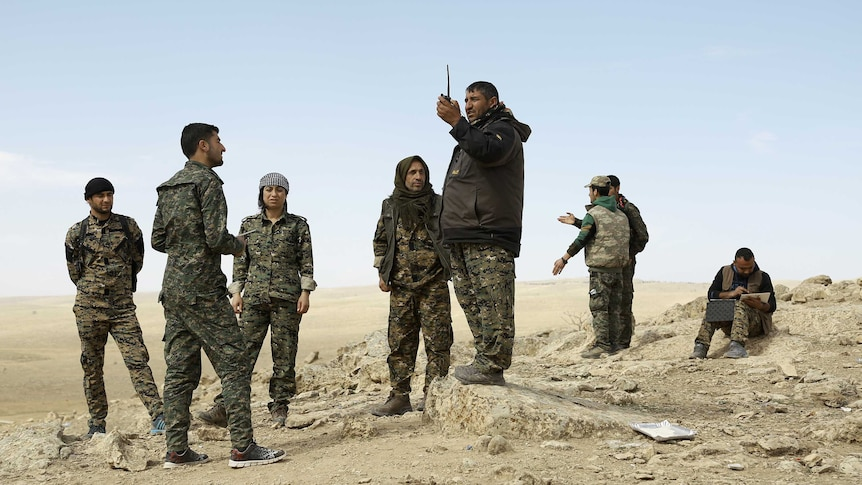 Fighters from the Syrian Democratic Forces.