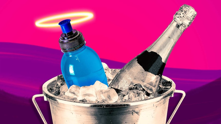 A sports drink bottle with a halo in an ice bucket next to a bottle of champagne - will the sports drink help with a hangover?