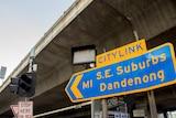 "A roadsign reading ""CityLink, M1 S.E. Suburbs Dandenong"""