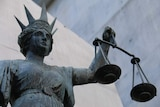 Close-up shot of Scales of Justice statue in Brisbane CBD on August 1, 2018.