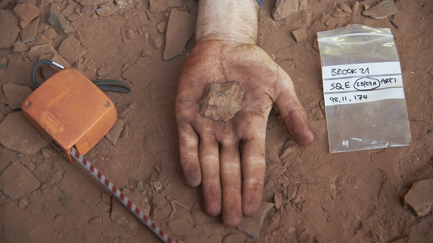 A hand holds out a rock, in the background is the dust on the Juukan rock cave floor.