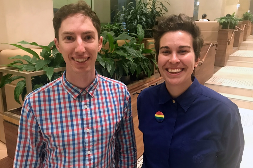 Co-chairs of Equal Voices Joel Hollier and Steff Fenton at Sydney Anglican Synod, 22 October, 2018.