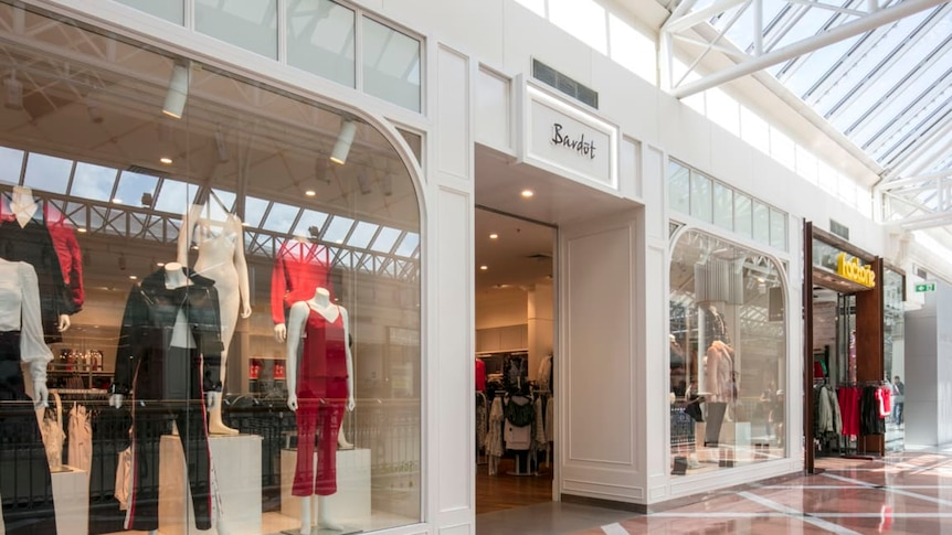 The store front of women's fashion retailer Bardot in Penrith Westfield, with clothes on mannequins in the shop windows.