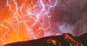 Volcanic lightning sizzles over an eruption in Japan.