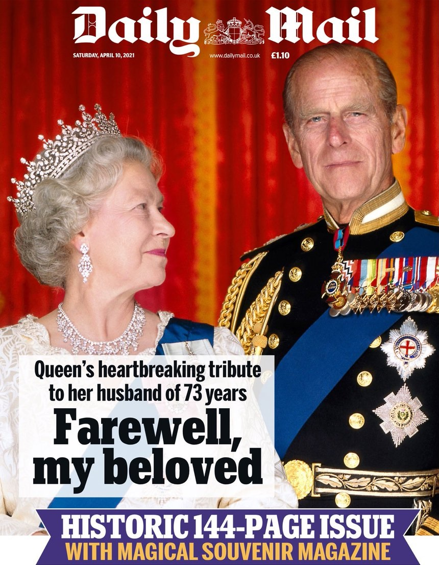 The front page of the Daily Mail newspaper the day after the death of Prince Philip.