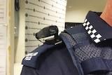 A camera on a Queensland police officer's shoulder