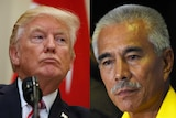 Two headshots side by side of Donald Trump and Anote Tong.