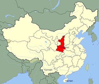 China map with Shaanxi Province highlighted