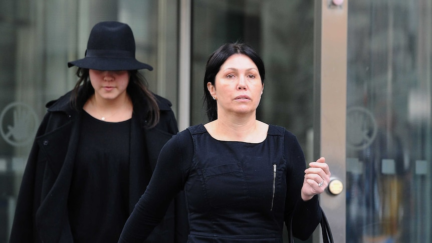 Roberta Williams leaves the Victorian County courts in Melbourne
