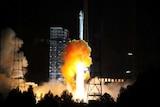Rocket carrying experimental spacecraft