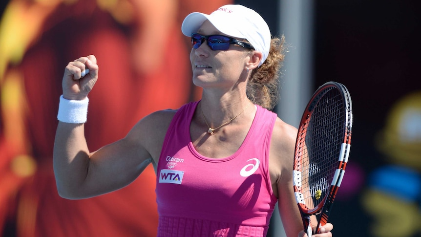 Sam Stosur wins second round match at Hobart International in January 2014.