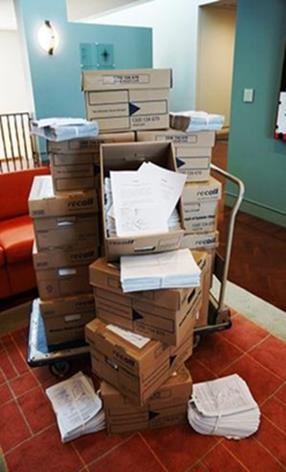 A pile of paper and boxes.