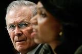 US Secretary of Defence Donald Rumsfeld and Secretary of State Condoleezza Rice.