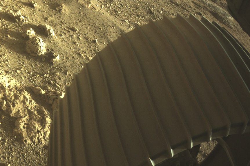 High-res imagery from one of the wheels of the Perseverance rover on Mars.