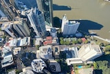Drone image over Brisbane city revealing thousands of people on the streets.