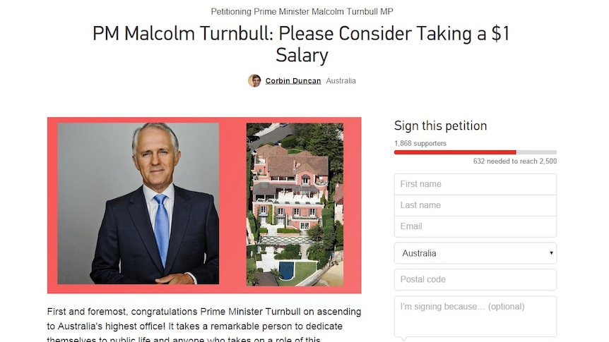 Online petition calling on Malcolm Turnbull to take a $1 salary
