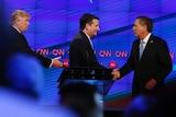 Donald Trump, Ted Cruz and John Kasich shake hands.