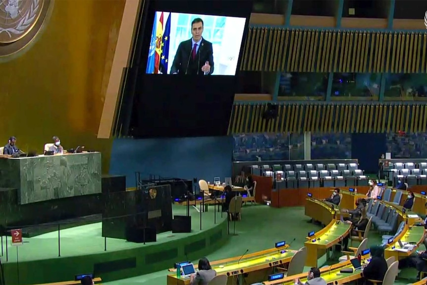 The Prime Minister of Spain speaks on a screen at the United Nations General Assembly.