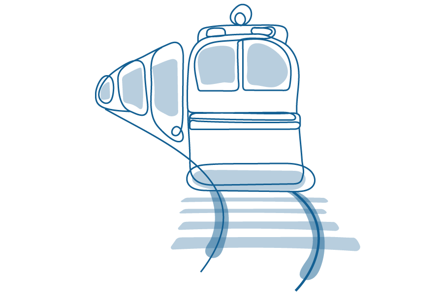 An illustration of a train moving down the tracks.